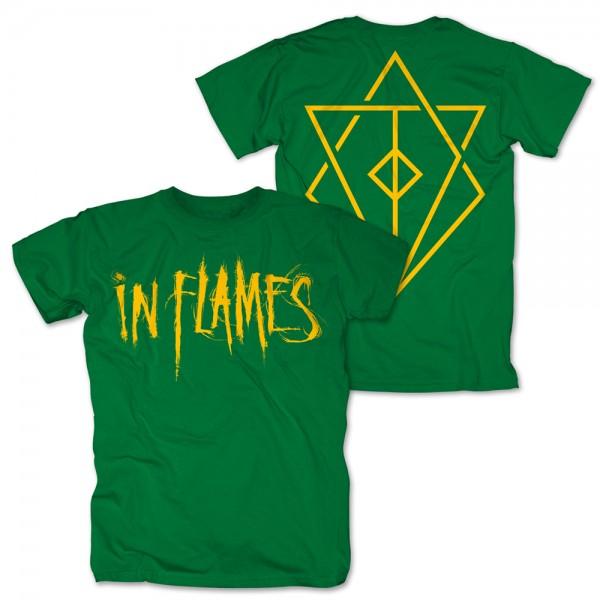 IN FLAMES - Logo Green T-Shirt