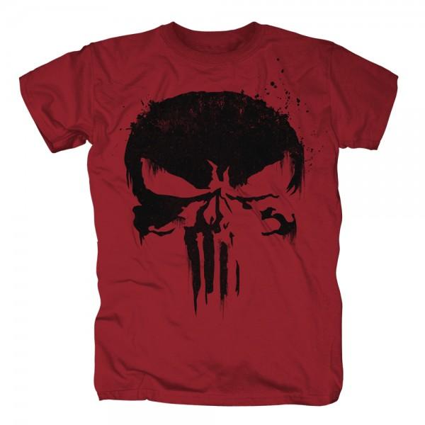 THE PUNISHER - Sprayed Skull Logo dunkelrot T-Shirt
