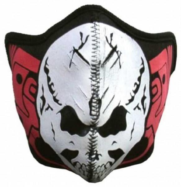 MASKE - Motorrad Gesichtsmaske Mundschutz Gesichtsschutz Red White Skull