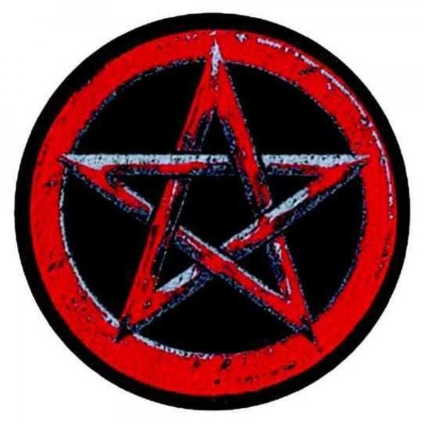 PENTAGRAM - schwarz rot rund Patch Aufnäher