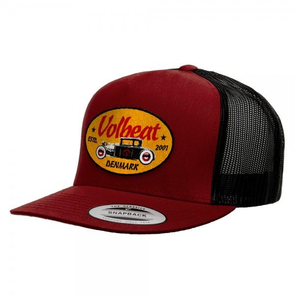 VOLBEAT - Oval Car Badge Burgundy/Black Baseballcap